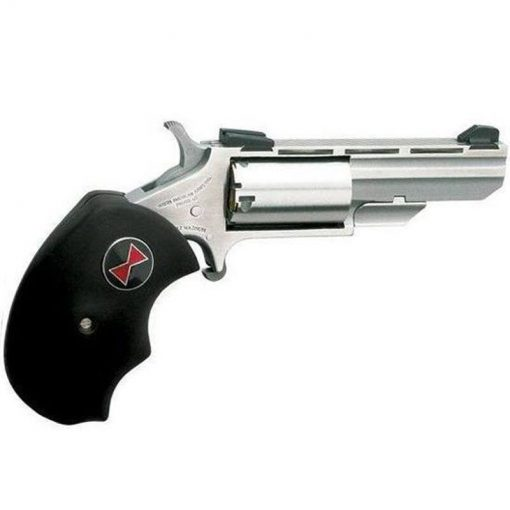 """NAA Black Widow Single Action Revolver .22 Magnum 2"""" Barrel 5 Rounds Fixed Sights Oversized Rubber Grips Stainless Steel Finish NAA-BWM"""